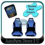 NOS Formula1 Bucket Seat Covers Blue & Black size 60/25 Universal High Back